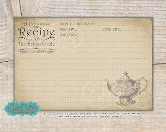 Bridal Shower Recipe Cards - Printable - Vintage Teapot - Tea Party