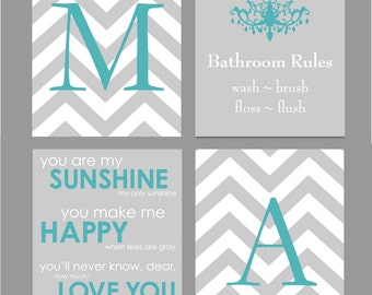 Teal and Gray Bathroom Art Home Decor Prints You Are My Sunshine Chandelier Chevron Monogram Prints - Set of four 8x10s You Choose Colors