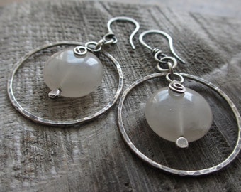 Sale! Milk Moon - sterling silver and agate earrings