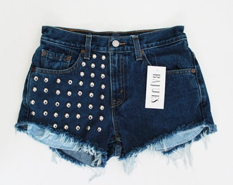 SUPER SALE- Cool Dark Wash Levis Studded Shorts