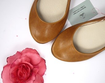 Ballet Flats Shoes in Tan Soft Leather Handmade Ballerinas