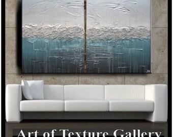 HUGE 60 x 40 Custom Original Abstract Impasto Texture Beach Silver Gray Aqua Brown Metallic Oil Painting by Je Hlobik
