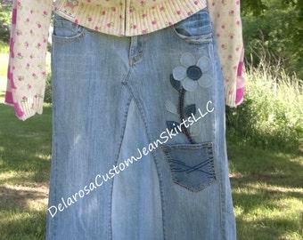 DELAROSA Custom Extra pocket Flower Pot and Flower stem and leaves Appliqué's for your jean skirt (Add on item only)