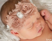 Baby headband in Lt. brown and lace band,shabby chic headbabd, baby girl headband,l,newborn,infant, toddler,adult