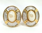 E. Pearl Earrings Designer Silver & Gold Tone with Large Glass Pearl