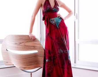 red and turquoise halter wedding  dress designed and made  by momosoho for your wedding boho chic bridal gowns mother of the bride tie dye