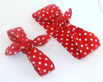 Mommy and Me Rockabilly Rosie the Riveter Red and White Polka Dots Head Scarfs Pinup Women Baby Headband Hair Accessory