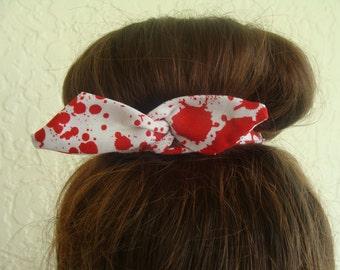 "Zombie Horror Halloween Wire Bun Wrap, Top Knot White with Blood Splatter ""Mini"" Dolly Bow Wire Ponytail Hair tie Hair Bun Tie Wrap"