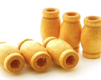 Natural Wooden Macrame Beads - Large Barrel Shape - large hole beads - 30 x 22mm - 6 pieces