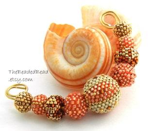 Beaded Beads set of 9 - by Sharri Moroshok - summer peach brown ivory gold