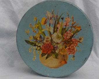 Vintage Round Tin Box with Flowers on Lid Cottage Chic Shabby Chippy, blue