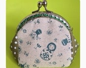FREE SHIPPING - Handmade coin purse Russia doll and green polka dots