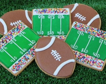 1 dozen football cookies  tailgaiting, playoffs and SuperBowl