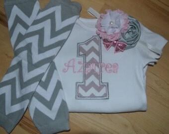 Custom Number Birthday CHEVRON Shirt or bodysuit