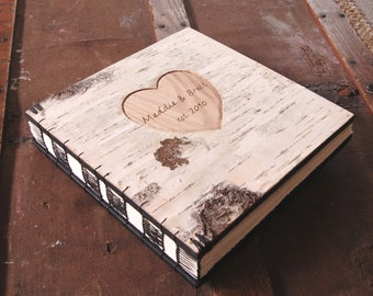 engraved wood photo album - rustic wedding photo guestbook scrapbook unique wedding gift anniversary wood book woodland  / made to order