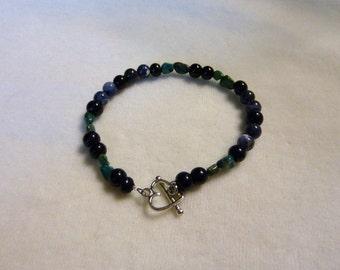 Turquoise Sodalite Black Obsidian Gemstone Bracelet - 7 1/2 Inches -Earthen Time