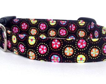 Dog Collar / Black Floral Dog Collar / Daisy Flower Dog Collar / Midnight Garden Dog Collar / Girl Dog Collar / Adjustable Dog Collar