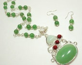 Green Jade Rosary Necklace, Semiprecious Pendant, Beaded Chain Necklace, Artisan Necklace Earring Set