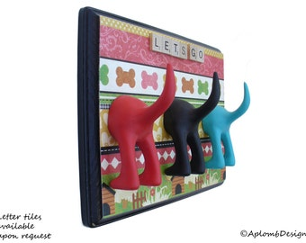 Leash Holder - Triple Tail - The Dog House - Customize it with Optional Letter Tiles