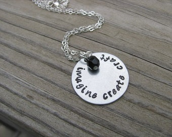 """Crafter Necklace- Gift for Crafty Person- """"imagine create craft"""" with an accent bead in your choice of colors- Hand-Stamped"""