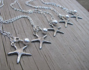 Bridesmaids Necklaces- Silver Starfish Necklaces- with pearl accent- set of 5