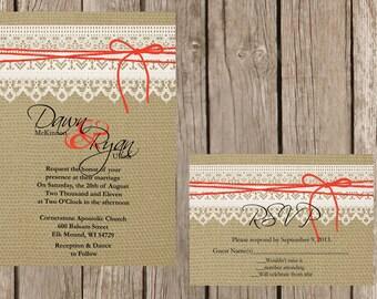 Rustic Wedding Invitation, Lace and Burlap Wedding Invitation, Custom