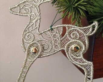 Embroidered Lace Reindeer