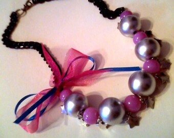 in fashion  bow necklace /gothic/rock/ free shipping/ready to ship