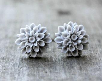 Light Gray Mum Earrings with Hypoallergenic Titanium Posts