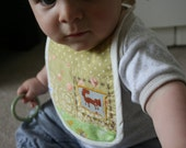 Heirloom Cotton Patchwork baby bib, one of a kind. And reversible too.
