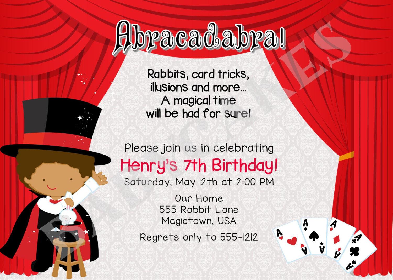 Boy Magic Show Birthday Invitation Invite Birthday Party