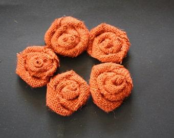 Burlap Flower, Burlap Roses, Rustic Burnt Sienna Rose Buds (Set of 15)