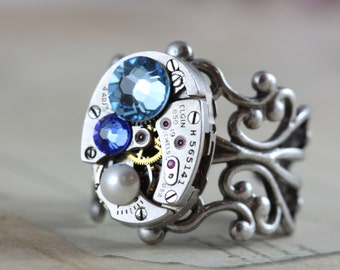 Unique Birthstone Ring Steampunk Ring Custom Made Jewelry Watch Ring Personalized Mothers Ring Inspired by Elizabeth