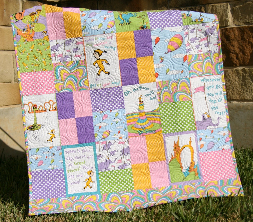 Oh The Places You Ll Go Girl Quilt Dr Seuss By