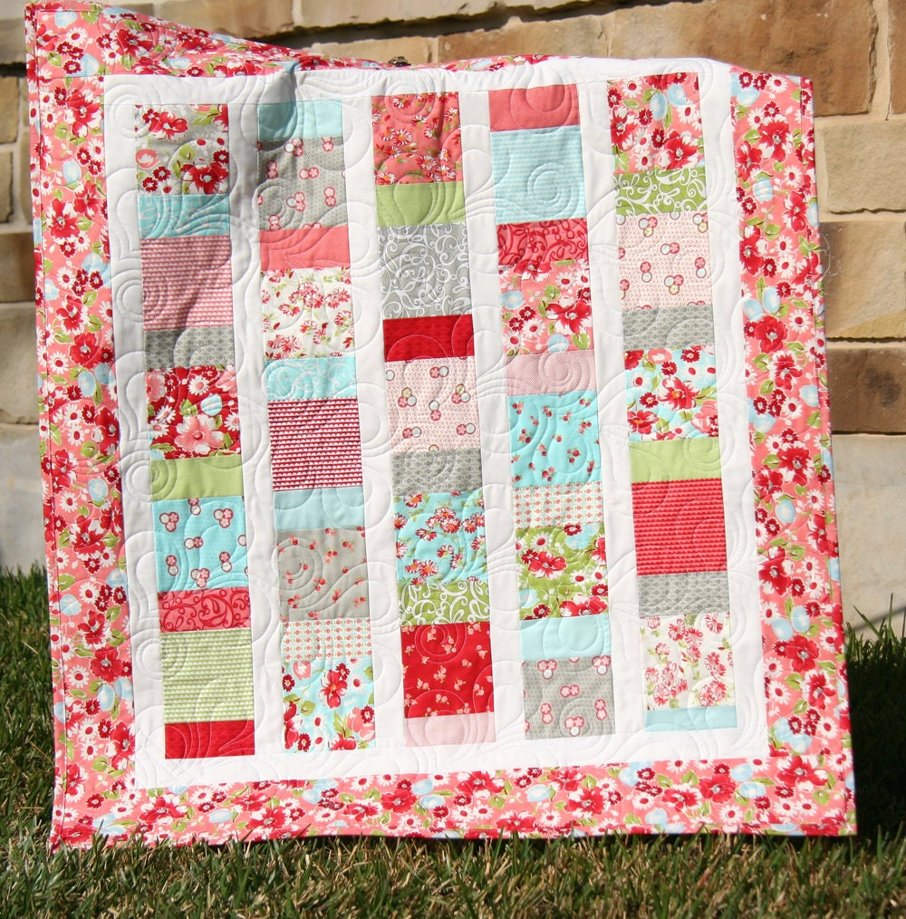 Baby Girl Quilt Ruby Red Pink Aqua Blanket Nursery Crib