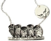 Owl and the Moon Necklace Woodland Surreal Stark Bird Vintage Illustration Statement Jewelry