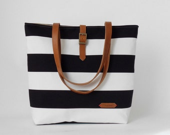 Black stripe canvas tote / Shoulder Bag / school bag / Diaper bag, Design byBagyBags