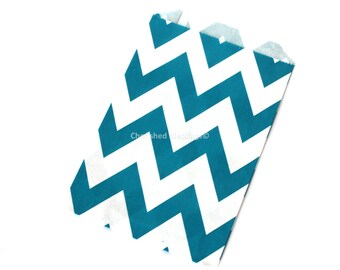 Chevron Favor Bags, Candy Buffet Bags, Teal Favors, Gift Bags, Aqua Teal Wedding Favors, Baby Shower Favors, Birthday Party,  Auqa Green