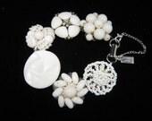 Bridesmaid Gift, Vintage Earring Bracelet, Reclaimed, Silver, Cluster, Flower, Milk Glass, Charm, Under 40, Cluster, OOAK - White on White
