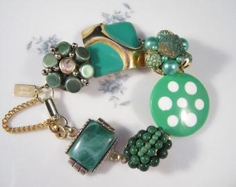 Vintage Earring Bracelet, Bridesmaid Gift, Upcycled, Green, Gold, Cluster, Mint, Sage, Jennifer Jones, Under 40, Coupon Code, OOAK - Dotty