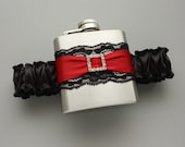 Black & Red FLASK GARTER with Rhinestone Square - Garter with Flask - 21st Birthday Gift - Ready to Ship