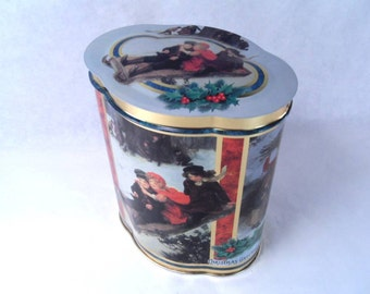 Cookie Tin Tall Christmas Greeting Vintage 80's