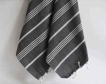SALE 50 OFF/ SET 2 Towels /Head and Hand Towel / Classic Style / Black - White striped