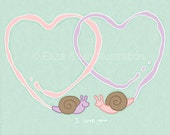 Cute Animal Valentines Day Card, Snails In Love, 5x7 Blank Card, Mint Green I Love You Card