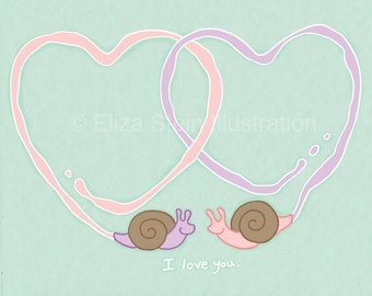 Snails In Love Valentines Day Card, Cute Animal Valentine Greeting Card, 5x7 Blank Card, Mint Green I Love You Card