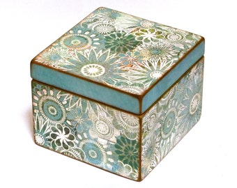 Recipe Box - Teal & Turquoise flowers - 4x6 inch wood recipe card box - DOUBLE SIZE - Twice as deep to hold twice as many recipe cards