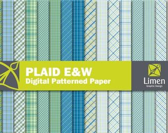 Plaid Digital Paper Pack, Blue Green Plaid Paper, Digital Plaid Scrapbook Paper, Tartan Digital Paper, Plaid Background, Instant Download