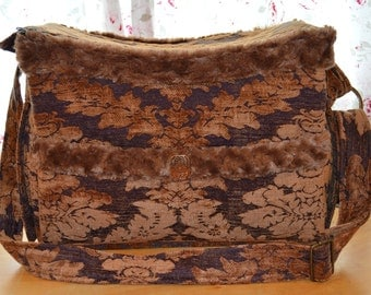 Small Dog Carrier - Purple and Gold Velvet Brocade