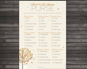 Fall Baby Shower Whats In Your Purse Game - Instant Download - Pumpkin Baby Shower Games Printable - Autumn Baby Shower - Orange Baby Shower