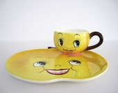 Vintage Ceramic Snack Plate Cup PY Yellow Lemon Fruit Anthropomorphic Japan